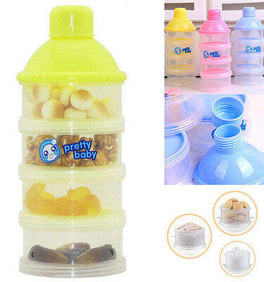 Nice NEW 4 Grid Box Portable Baby Milk Powder Box Container Snack Box
