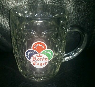 Rare Collectable König Lager Pint Beer Glass Mug Stein In Good Used Condition