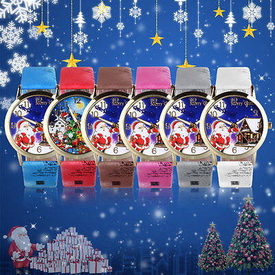 Santa Claus Pattern Dial Unisex Casual PU Leather Wrist Watches For Christmas AU