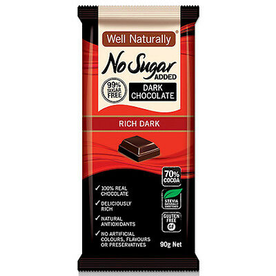 WELL NATURALLY NO ADDED SUGAR RICH DARK CHOCOLATE 90g 70% COCOA