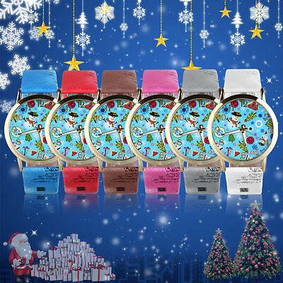 Superior Men Women Snowman Pattern Dial PU Leather Quartz Wrist Watches AU