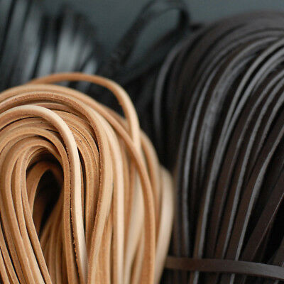 2 Meter Top Quality Natural 5mm Flat Genuine Leather Jewelry Rope String Cord