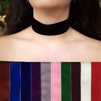 Choice of 11 colours!! Thick Wide Velvet Choker Black Red Blue Pink Purple White