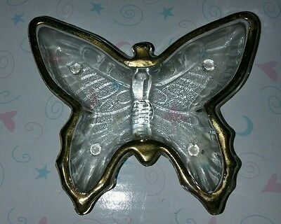 Vintage Jeannette Glass With Gold Trim Butterfly Dish Trinket Collectible 4x4 in
