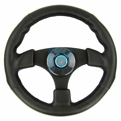 Marine Sport Steering Wheel Polyurethane Leather Grip Alloy Spoke for Boat 13.5""