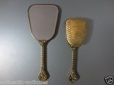 GORGEOUS Antique Vintage Filigree Gilded Mirror with Brush ORIGINAL Early 20th C