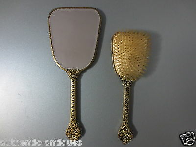 GORGEOUS Old Antique VICTORIAN Vintage Gilt Gilded Filigree Mirror with Brush