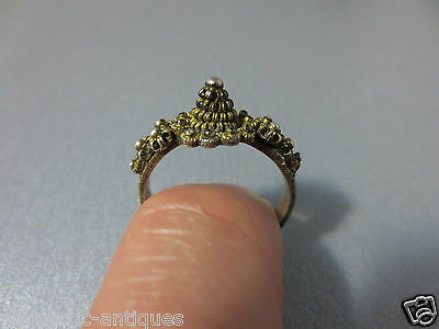 ANTIQUE 19th CENTURY OTTOMAN WOMEN'S SILVER FILIGREE+GILDED FOLKLORE RING TURKEY