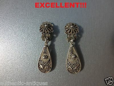 Gorgeous Antique Silver Filigree Early 20th Century Vintage Clips EARRINGS -RARE