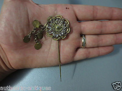 Gorgeous Antique Ottoman Folklore Hair Pin Ornament Filigree Gold-plated #03RARE