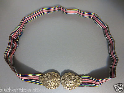 TOP PRICE! ANTIQUE OTTOMAN Silver alloy BUCKLE+WOVEN BELT MACEDONIAN - RARE!