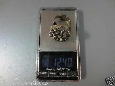 GORGEOUS LARGE ANTIQUE SILVER ALLOY RING 19th C. OTTOMAN EMPIRE FOLKLORE ISLAMIC