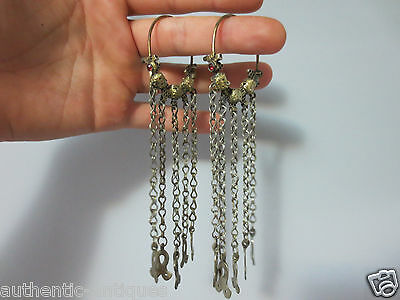 Gorgeous Antique Silver Gold-plated Ottoman Earrings 19th Century EXTREMELY RARE