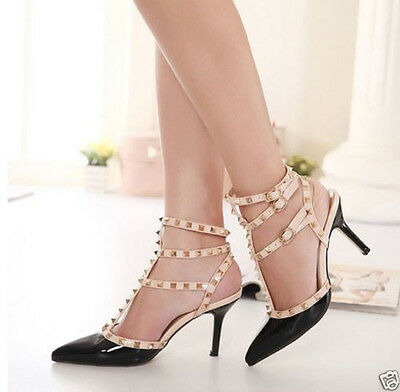 Women Patent Pointy Toe Studded Buckle Strap High Heel Gladiator Sandals Shoes