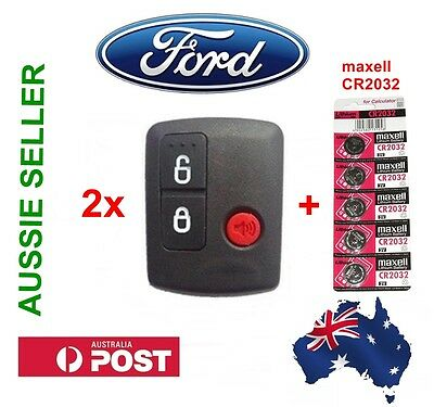 2x Ford BA BF 3 Button Remote Control & 5 MAXELL CR2032 Batteries