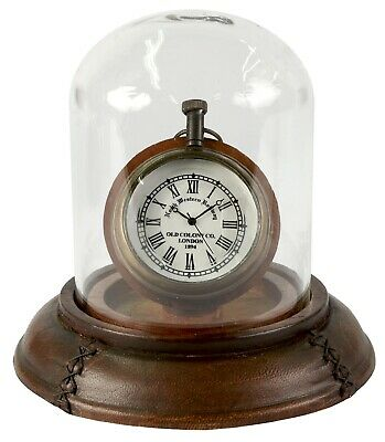 Pocket Watch/clock Under Glass Dome Leather Base Table Display Old Colony London