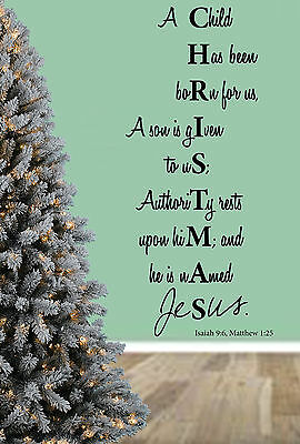 Christmas Bible Quote, Unto us a Child is Born, Wall Art Stickers, Mural Decal