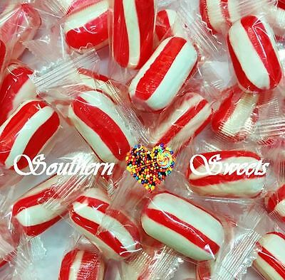 Red & White Xmas Lollies Striped Christmas Candy Wrapped 700G Approx 100Ct