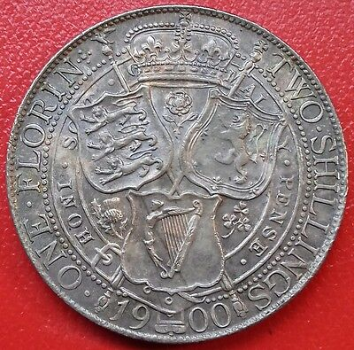 1900 Florin. Queen Victoria Two Shillings. British Silver Coins.