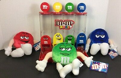 M&Ms World 4 Tube Colorworks Candy Dispenser with Three Plush Dolls