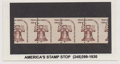 US 1975 EFO Liberty Bell Coil Scott 1618 Mis-Perforated Error Stamps Unused |