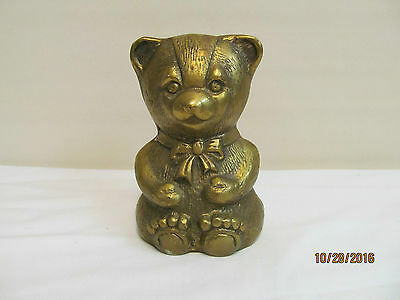 Vintage Solid Brass Teddy Bear Piggy Bank (P2)