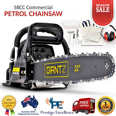 "58CC Commercial Petrol Chainsaw E-Start 22"" Bar Chain Saw Tree Pruning Black NEW"