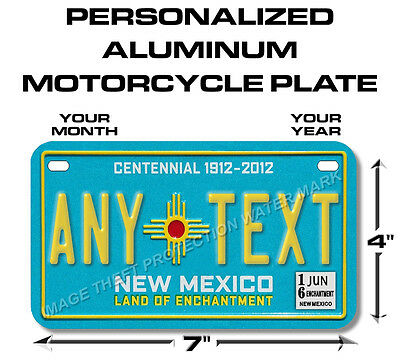 New Mexico Centennial Any Text Personalized State Motorcycle License Plate Tag