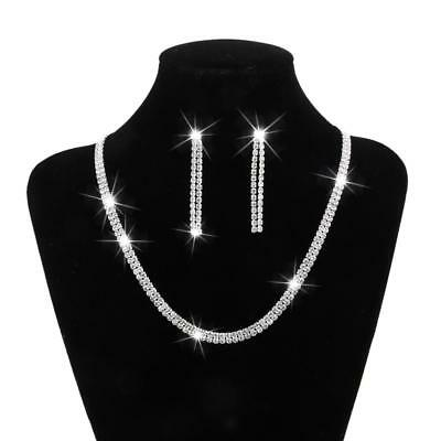 Wedding Bridal Party Crystal Rhinestone Jewelry Necklace Earring Sets