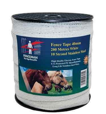 Fenceman Standard Electric Fence White Tape 40mm x 200m
