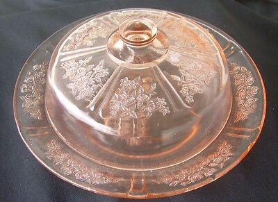 Vintage Pink Depression Glass Butter/cheese Covered Dish In The Sharon Cabbage R