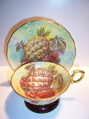 Hammersley Porcelain Cabinet Cup and Saucer Signed B. Pitt RARE PINEAPPLE
