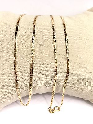 18k Solid Yellow Gold Italian Small Flat Link Chain Necklace, 16Inches. 2.02Gram