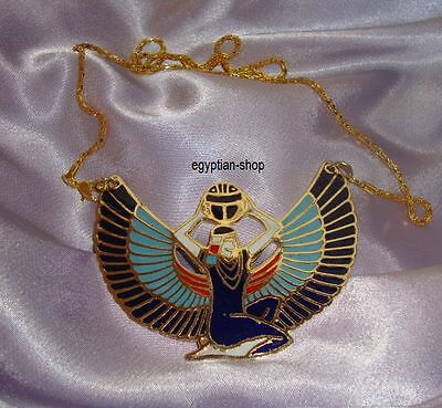 Egyptian *Winged Isis* Necklace  - Goldtone - NEW  #3727