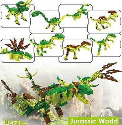 Jurassic World Dinosaurs 8 in 1 Building Blocks 471 Pieces Compatible with Lego