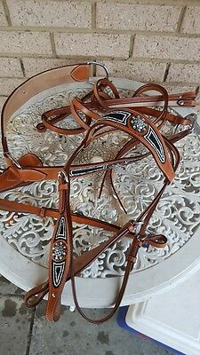 Western bridle breastplate bling show stock rodeo barrel leather horse