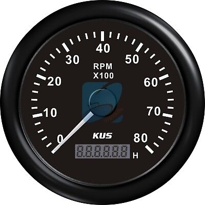 KUS Boat Tachometer LCD Hourmeter Boat Outboard Tacho Meter Black 12/24V 8000RPM