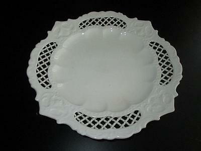 Genuine Antique Pierced Creamware Rope Border Plate, possibly Leeds #3