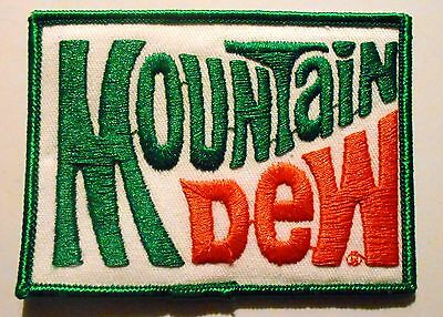 """Mountain Dew patch Soft Drink 2"""" x 3"""",  Vintage Green edge"""