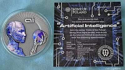 "2016 Niue $2 - ARTIFICIAL INTELLIGENCE ""Code of the Future"" series 2 oz silver"