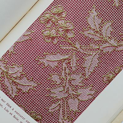C19th Le Filet Brode / Darning on Lace vtg needlework craft book with patterns