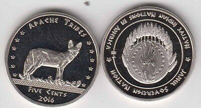 USA Indian Tribe APACHES 5 Cents 2016, Jackal, unusual coinage