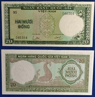 Currency: South Vietnam, State Bank, 1964 CU 20 Dong Banknote