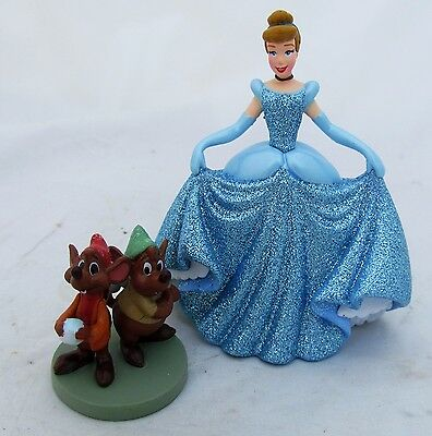 Disney Princess Cinderella Jaq Gus Mouse Mice Figure Figurine Set Cake Topper