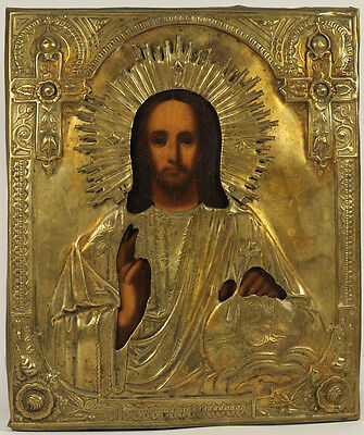 c.1900 ANTIQUE RUSSIAN ORTHODOX ART ICON JESUS CHRIST EMMANUEL IN BRASS OKLAD