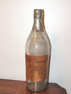 OLD DAVID WHISKEY Antique Paper Label Glass Bottle D Sachs & Sons Louisville KY