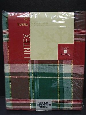 "Lintex Oblong 60"" x 104"" Tablecloth in Christmas Plaid"