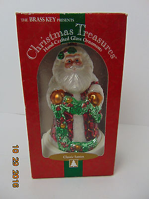 Santa Claus Christmas Hand Crafted Glass Ornament Brass Key 2001