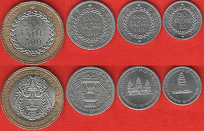 Cambodia set of 4 coins: 50 - 500 riels 1994 UNC
