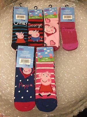 Official Peppa Pig Character Value 2 Pair Pack Socks - Stocking Filler - 3 Sizes